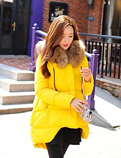 Damen Daunen Mantel,Standard Niedlich Street Schick Aktiv Ausgehen Lässig/Alltäglich Sport Solide-Polyester Waschbär-PelzPolyester Weiße