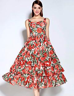 Dame Vintage Casual/hverdag Swing Kjole Blomstret,Rund hals Midi Uden ærmer Rød Bomuld / Polyester Efterår Alm. taljede Uelastisk Medium