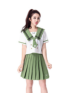 Cosplay Costumes Career Costumes Student/School Uniform Festival/Holiday Halloween Costumes White Green Solid Top Skirt Halloween Carnival