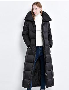 Damen Daunen Mantel Einfach Lässig/Alltäglich Solide-Polyester Weiße Entendaunen Langarm