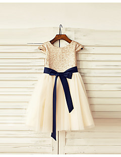 A-line Knee-length Flower Girl Dress - Tulle / Sequined Short Sleeve Scoop with