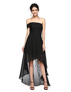 2017ランティングは、非対称シフォンセクシーbride®/ウエディングドレスを見抜く - ラインオフショルダープリーツ付き