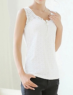 Women's Casual/Daily Sexy All Seasons Tanks,Jacquard Round Neck Sleeveless White / Black Cotton / Rayon Thin