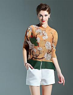Feminino Camiseta Casual Temática Asiática Outono,Geométrica Marrom Poliéster Decote Princesa Meia Manga