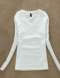 Women's Casual/Daily Simple Fall T-shirt,Solid V Neck Long Sleeve Pink / White / Black Cotton Medium