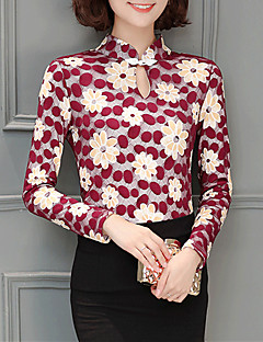 Casual Spring Fall Women's Plus Size Go out Slim Blouse Stand Long Sleeve Fashion Printing Blouse