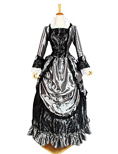 One-Piece/Dress Gothic Lolita Victorian Cosplay Lolita Dress Gray Solid / Lace Long Sleeve Ankle-length Dress For Women Charmeuse