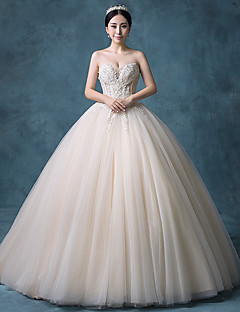 Ball Gown Wedding Dress Wedding Dress in Color Court Train Strapless Lace Organza Tulle Sequined with Beading Lace Sequin