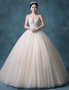볼 드레스 웨딩 드레스 색상 웨딩 드레스 코트 트레인 끈없는 스타일 레이스 오간자 튤 스팽글 와 비즈 레이스 스팽글