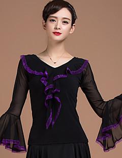 ריקודים סלוניים חלקים עליונים בגדי ריקוד נשים אימון ויסקוזה שחבור חלק 1 שרוול ארוך טבעי עליון