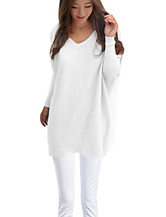 Women's Casual/Daily Sexy Long Pullover,Solid White / Black / Orange / Yellow V Neck Long Sleeve Polyester Winter Medium Micro-elastic
