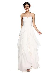 2017 לנטינג שיפון באורך רצפת bride® לפתוח בחזרה / שמלת השושבינה אלגנטית - א-קו מתוק עם שתי וערב