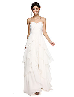 LAN TING BRIDE 바닥 길이 스윗하트 신부 들러리 드레스 - 오픈 백 우아한 민소매 쉬폰
