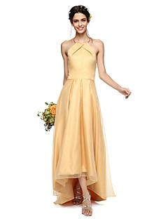 2017 Lanting Bride® Asymmetrical Organza / Satin Beautiful Back Bridesmaid Dress - A-line Halter with Pleats