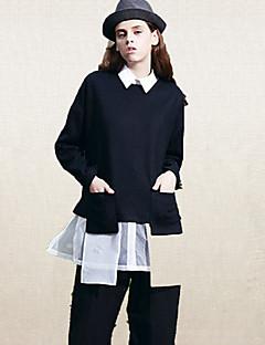 Langærmet Rund hals Medium Dame Sort Ensfarvet Vinter Street Casual/hverdag T-shirt,Uld Polyester
