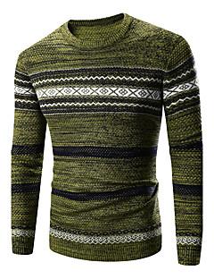 Normal Pullover Fritid/hverdag Enkel Herre,Stripet Geometrisk Brun Grønn Rund hals Langermet Bomull Akryl Vinter Medium Elastisk