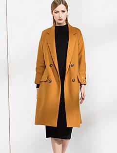 Feminino Casaco Casual Simples Outono Inverno, Bordado Preto Amarelo Lã PoliésterManga Longa Grossa