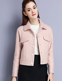 Damen Solide Einfach Lässig/Alltäglich Mantel,Winter Hemdkragen Langarm Rosa Wolle Acryl Polyester