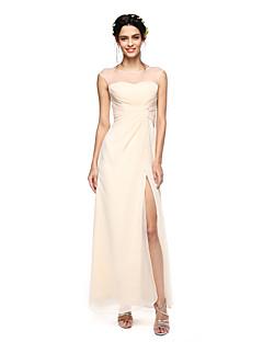 2017 Lanting andar de comprimento bride® chiffon furca vestido de dama de honra - bainha / jóia coluna com frente dividida