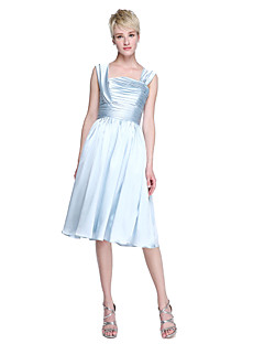 2017 Lanting Bride® Knee-length Charmeuse Elegant Bridesmaid Dress - A-line Straps with Ruching Pleats