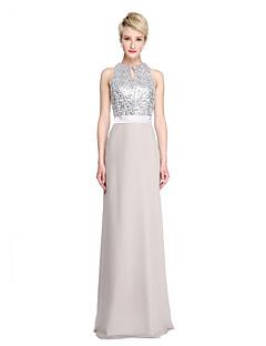 2017 Lanting Bride® Floor-length Chiffon Sequined Sparkle & Shine Bridesmaid Dress - Sheath / Column Jewel with Sash / Ribbon Sequins