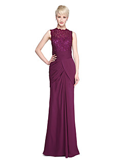 2017 Lanting Bride® Floor-length Chiffon Lace See Through Bridesmaid Dress - Sheath / Column High Neck withBeading Sash / Ribbon Side Draping