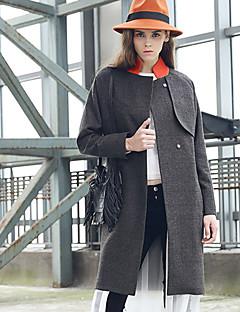 Damen Solide Einfach Lässig/Alltäglich Mantel,Winter Ständer Langarm Schwarz Wolle Polyester