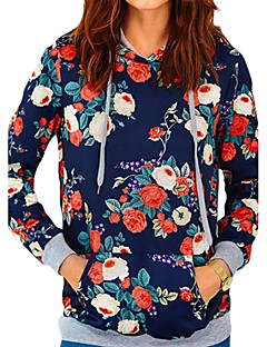 Women's Casual/Daily Sports Going out Sexy Active Simple Hoodie Print Round Neck Micro-elastic Polyester Long Sleeve Spring Fall