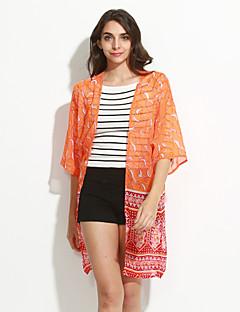 Nais- ¾ hiha Keskipaksu Pyöreä kaula-aukko Polyesteri Vintage / Yksinkertainen Rento/arki Pusero,Painettu Oranssi