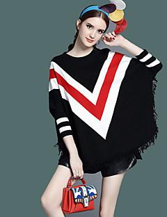 Damen Standard Mantel / Capes-Lässig/Alltäglich Einfach Einfarbig Rot Schwarz Rundhalsausschnitt Langarm Polyester Frühling Herbst Mittel