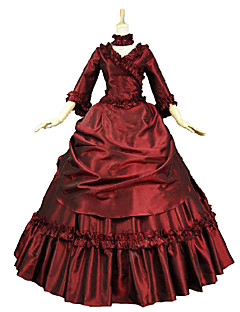 Steampunk®High Quality Victorian Dress French Bustle Ball Gown Reenactment Women Christmas Dickens Caroling Costume