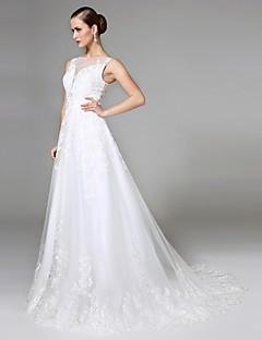 2017 Lanting Bride® A-line Wedding Dress - Elegant & Luxurious Open Back Court Train Bateau Lace / Tulle withAppliques / Button / Sash /