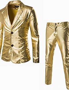 Langærmet Notch Lapel Herre Sort Guldfarvet Sølvfarvet Ensfarvet Efterår Vinter Simpel Street Casual/hverdag Suits,Bomuld