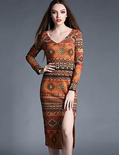 Feminino Tubinho Bainha Vestido, Formal Vintage Estampado Decote Redondo Assimétrico Manga ¾ Laranja Algodão Poliéster PrimaveraCintura