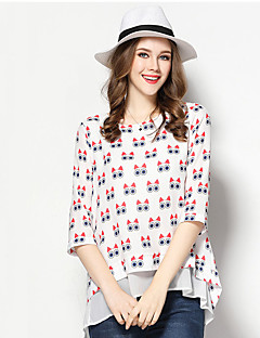Women's Going out Simple Spring Fall Blouse,Print Round Neck ¾ Sleeve Polyester Medium