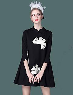Damen Skater Kleid-Lässig/Alltäglich Einfach Stickerei Ständer Übers Knie ¾-Arm Schwarz Polyester Frühling Sommer Mittlere Hüfthöhe