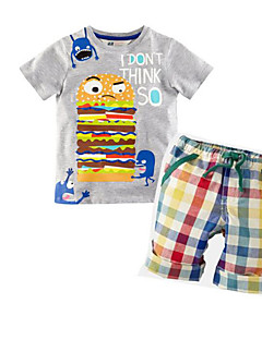Boy Casual/Daily Solid Sets,Rayon Summer Short Sleeve Clothing Set
