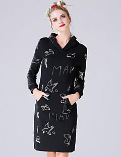 Damen Etuikleid Kleid-Lässig/Alltäglich Einfach Druck Stickerei Mit Kapuze Übers Knie Langarm Schwarz Grau Polyester Frühling Herbst
