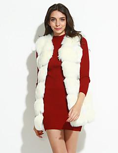 Mulheres Casaco de Pelo Casual Simples Outono,Sólido / Arco-Íris Vermelho / Branco / Preto Pêlo Sintético Decote Redondo-Sem Manga Média