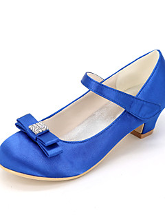 Tacchi-Matrimonio Serata e festa-Scarpe Flower Girl Light Up Shoes-Basso Quadrato-Seta-Nero Blu Rosa Viola Rosso Avorio Bianco Dorato