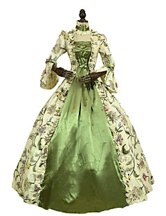 Steampunk®Renaissance Victorian Period Dress Antique Floral Print Gown Princess Theatre Clothing