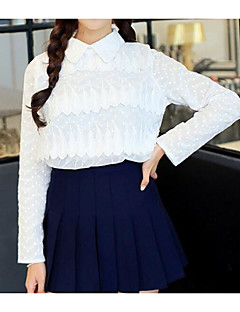 Women's Going out Casual/Daily Cute Street chic Fall Winter T-shirt,Solid Deep U Long Sleeve White Others Thin