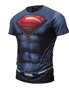 남성 프린트 라운드 넥 짧은 소매 티셔츠,심플 액티브 펑크 & 고딕 데이트 캐쥬얼/데일리 스포츠 블루 면 폴리에스테르 사계절