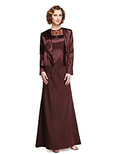 2017 Lanting Bride® Sheath / Column Mother of the Bride Dress - Two Pieces Ankle-length Long Sleeve Stretch Satin with Beading
