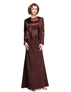 2017 Lanting bride® skjede / kolonne mor til bruden kjole - to stykker fotside langermet stretch sateng med beading