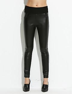 Větší velikosti Vypasovaný Džíny Dámské Kalhoty-Jednobarevné High Rise PU Mikroelastické podzim