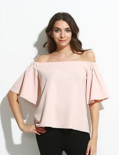 Chemisier Femme,Couleur Pleine Soirée Sexy Eté ½ Manches Bateau Rose Polyester / Spandex Fin