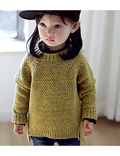 Girl Casual/Daily Solid Sweater & Cardigan,Rayon Winter Fall Long Sleeve Regular