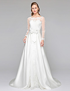 Lanting Bride® גזרת A שמלת כלה  - שיק ומודרני שני חלקים שקוף שובל קורט עם תכשיטים תחרה סאטן עם אפליקציות פפיון כפתור סרט