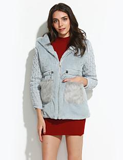 Women Rabbit Fur / Faux Fur Outerwear / Top , Hoodie / Lined